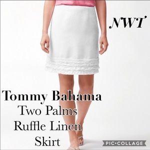 🆕Tommy Bahama two palms ruffle linen skirt